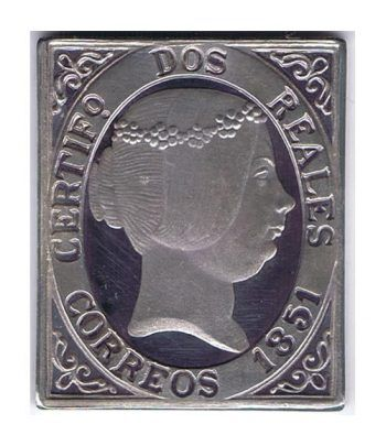 Sello plata España nº 8. 2 reales Isabel II 1851.  - 1