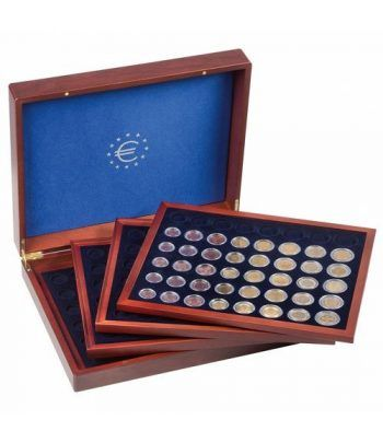 LEUCHTTURM Estuche de madera con 4 bandejas para series euro Estuche Monedas - 1
