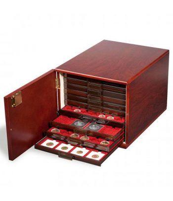 LEUCHTTURM Gabinete de monedas para 10 bandejas. Color Caoba. Maletines monedas - 6